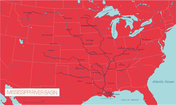 Mississippi River Basin in the USA detailed editable vector map, trending color scheme