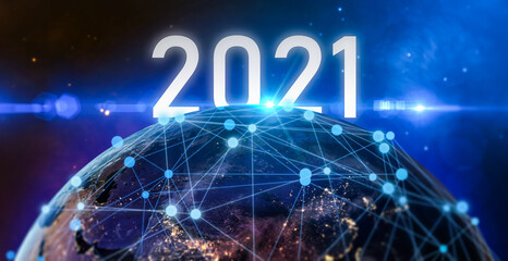 New year 2021 or start straight concept.word 2021 written on the galaxy and Global world network and telecommunication on earth.Elements of this image furnished by NASA