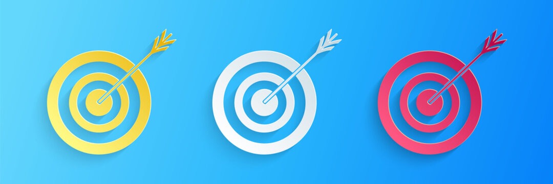Paper cut Target with arrow icon isolated on blue background. Dart board sign. Archery board icon. Dartboard sign. Business goal concept. Paper art style. Vector.