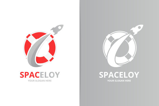Vector lifebuoy and rocket logo combination. Unique lifeboat and flight logotype design template.