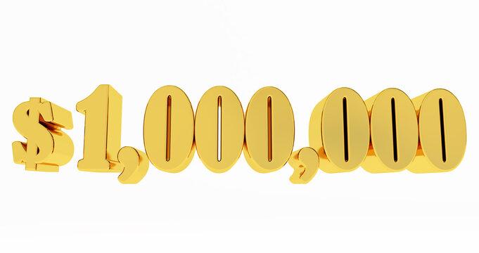 1.000.000$ One million dollars. golden 1000000$ isolated on whaite background, 3D render