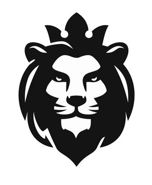 lion head emblem on white background
