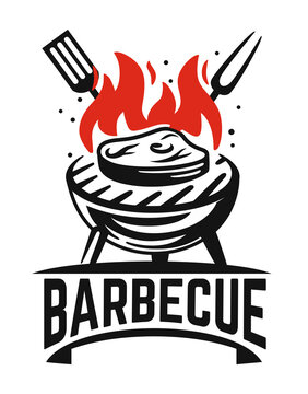 barbecue logo black steak fried on fire