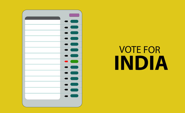 electronic voting machine isolated on  yellow background, vote for India concept vector illustration