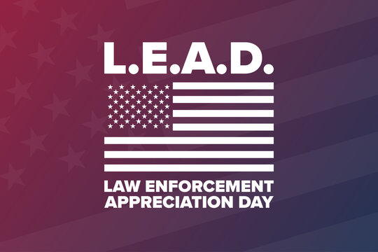 National Law Enforcement Appreciation Day L.E.A.D. January 9. Holiday concept. Template for background, banner, card, poster with text inscription. Vector EPS10 illustration.