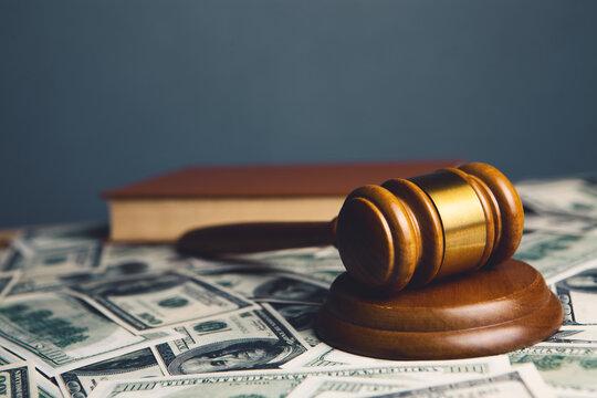 Judge gavel, dollars for business, finance, corruption, money, financial crimes