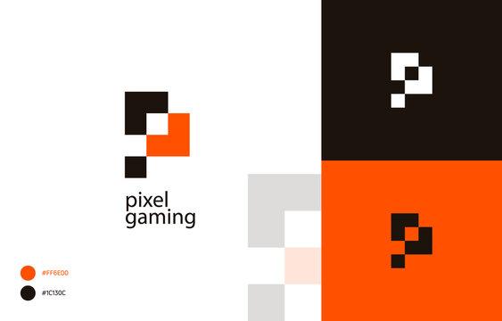 Modern Pixelated gaming Logo Template Vector, Pixel letter P in tetris style