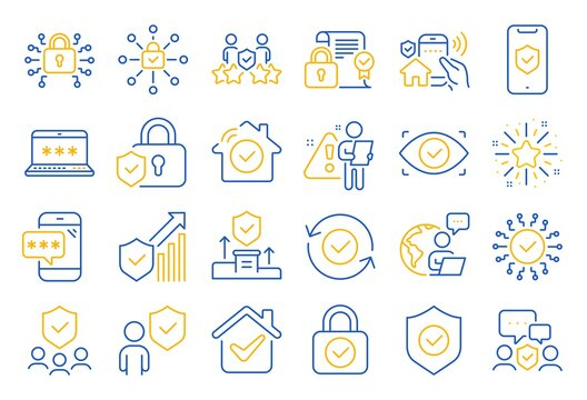 Security line icons. Cyber lock, password, unlock. Guard, shield, home security system icons. Eye access, electronic check, firewall. Internet protection, laptop password. Line icon set. Vector