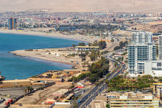 Panoramic view of the city of Arica, with its beautiful and grand beaches in the background, Chile