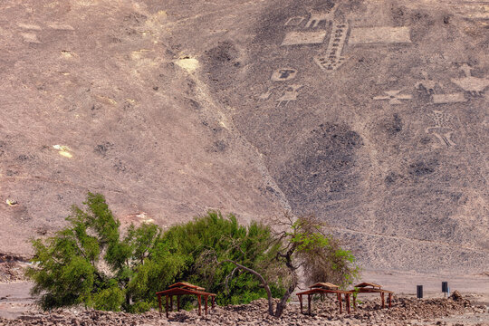 Geoglyphs Pintados Cerros, near the town of Pica, in the commune of Pozo Almonte, Chile