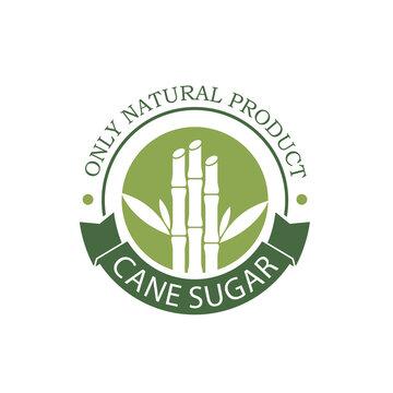 cane sugar production emblem isolated on white background