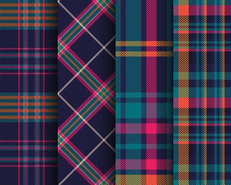 Set of tartan seamless pattern. Checkered Scottish plaid. Striped Christmas print in Scottish style