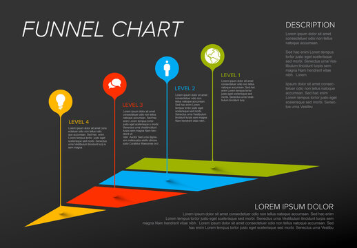 Pyramid Infographic Layout with Droplet Pointers