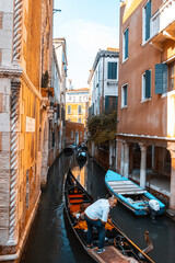Old italian architecture with landmark bridge, romantic boat. Venezia. Grand canal for gondola in travel europe city. Italy, Venice.