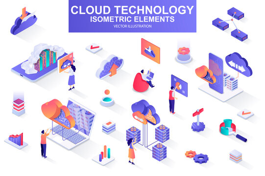 Cloud technology bundle of isometric elements. Server rack, hosting provider, information network, data storage, cloud database isolated icons. Isometric vector illustration kit with people characters