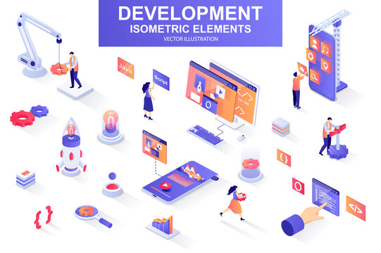 Development company bundle of isometric elements. interface prototyping, back end development, developer programming, project launch isolated icons. Isometric vector illustration kit with people.