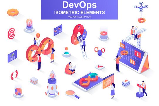 DevOps bundle of isometric elements. Startup launch, software development, deployment and testing, automation and programming isolated icons. Isometric vector illustration kit with people characters.