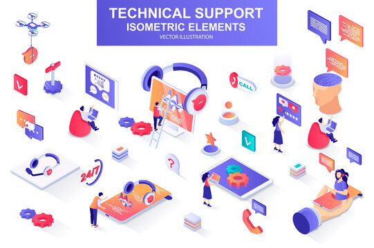 Technical support bundle of isometric elements. Chatbot, call center operator, headset, hotline consultant, online assistance isolated icons. Isometric vector illustration kit with people characters.