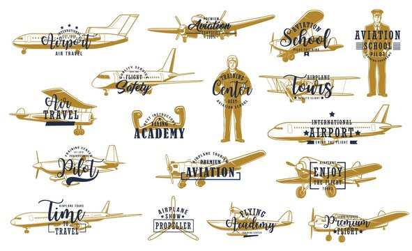 Flight, airline planes icon, aviation fly and airport travel, vector retro. Pilot academy, avia instructor and aviator school emblem, airport private jet service and propeller airplane show