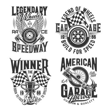 Racing sport, motocross speedway t-shirt prints for cars races and rally, vector icons. Racing championship and motorcycle speedway cup, wheels on fire and finish victory flag with engine pistons