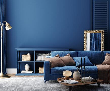 Dark blue home interior background, modern style, 3d render