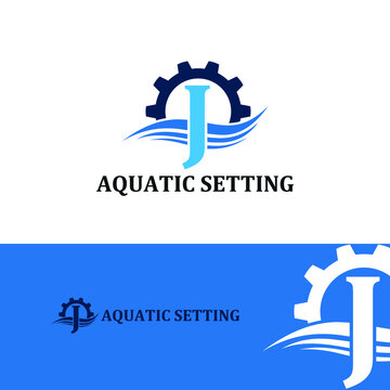 Initial J letter for swimming pools and aquatic venue repairing, setting and service company logo template