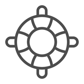 Lifebuoy line icon, waterpark concept, Inflatable Life Saver sign on white background, Lifebuoy icon in outline style for mobile concept and web design. Vector graphics.