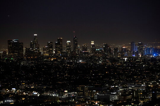 A view of the downtown skyline from Griffith Observatory during a partial lockdown amid the outbreak of the coronavirus disease (COVID-19), in Los Angeles