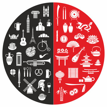 Combining two cultures of the West and the East. Objects-symbols of Western civilization are the opposite of objects of Eastern civilization. Graphic icons
