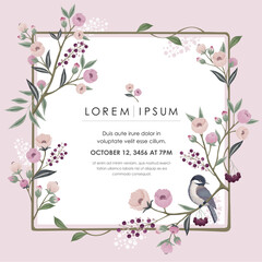 Wall Mural -  Vector illustration of a floral frame with a little bird on branch in spring. Design for cards, party invitation, Print, Frame Clip Art and Business Advertisement and Promotion