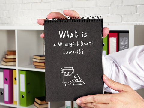 Juridical concept about a Wrongful Death Lawsuit? with phrase on the piece of paper.
