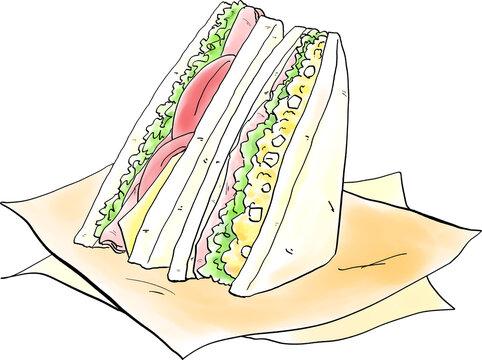 サンドイッチの手描き風イラスト