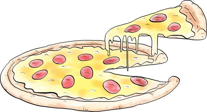 ピザの手描き風イラスト
