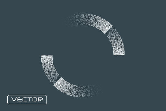 Loading. Circular, round icon element. Noise. gradient. Stipple. Vector overlay object, template.