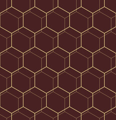 Geometric abstract vector hexagonal background. Geometric modern brown and golden ornament. Seamless modern pattern