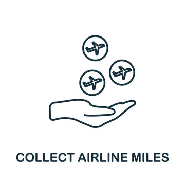 Collect Airline Miles icon. Line style element from loyalty program collection. Thin Collect Airline Miles icon for templates, infographics and more