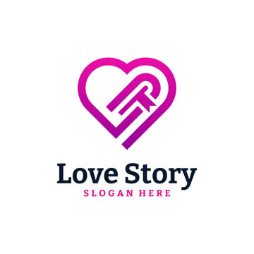 Story Book Logo Design Template. Love book logo vector illustration