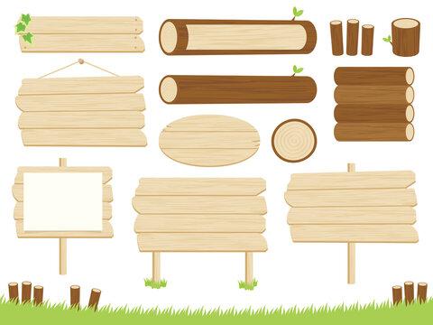木の看板と丸太のフレームセット-Wooden sign and log frameset