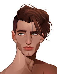 Portrait of a beautiful boy. Vector cartoon isolated character.
