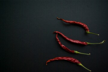 Red hot chili pepper on a black background vertically