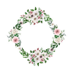 Fototapeta Watercolor white, p peonies wreath. White roses isolated round frame. Rustic wedding banner. Cute wreath for decoration, design. White, green, pink tones. For invitations, bridal shower,  decoration obraz