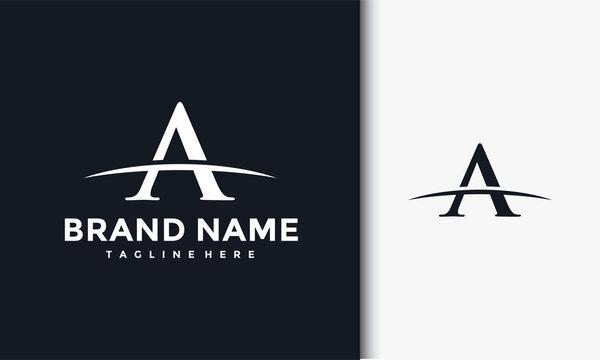 initials A curved outline logo