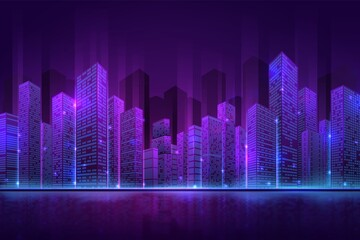 Futuristic city building. High neon cityscape, abstract night downtown panorama. Digital smart town, 3d modern property recent vector concept. Illustration neon building illuminated downtown