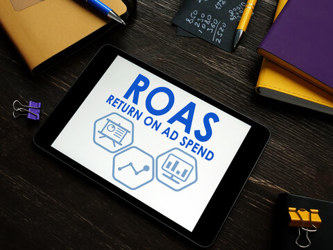 ROAS Return on Ad Spend report on a tablet.