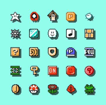 Set of items from Super Mario Bros 3 classic video game, pixel design vector illustration