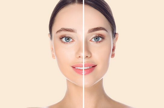 Female face before and after coloring and styling eyebrows on beige background