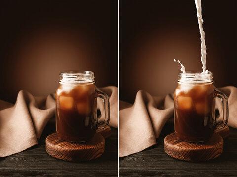 Mason jar of iced coffee on table