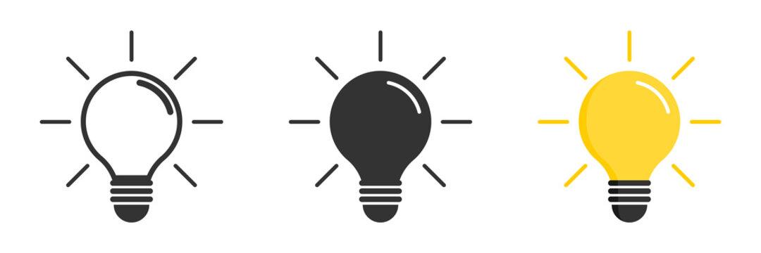 Light bulb icon. Light bulb vector icon. Idea icon. Lamp concept. Light bulb, isolated in modern simple flat design. Vector illustration
