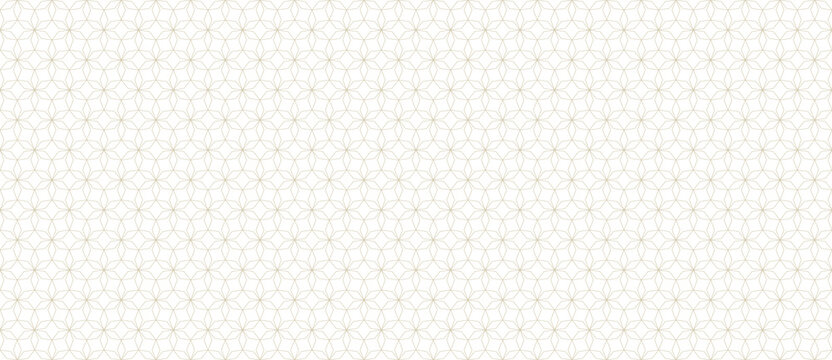 Abstract geometric seamless pattern in Arabian style. Thin golden lines texture, elegant floral lattice, mesh, grid. Oriental luxury background. Subtle gold ornament. Modern vector design template