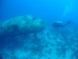 underwater scuba diver , ship Wreck , Caribbean sea